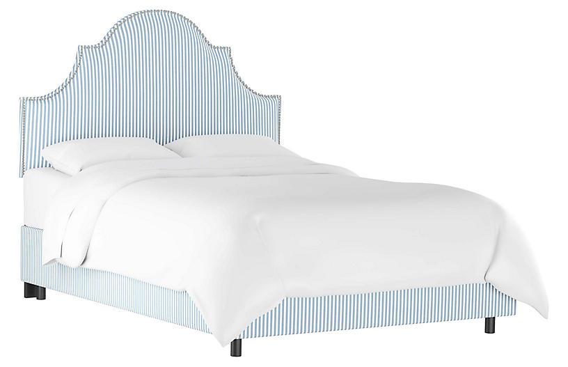 Hedren Bed, Blue Stripe Linen