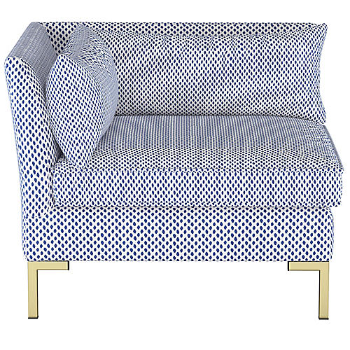 Marceau Corner Chair, Navy Dot