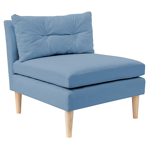 Madeline Slipper Chair, French Blue Linen