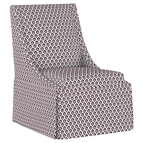 Jody Skirted Swoop-Arm Side Chair, Plum Floral Linen