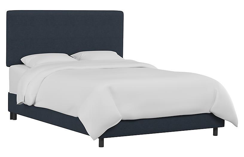 Novak Bed, Navy Linen
