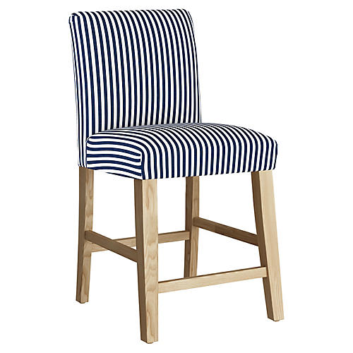 Shannon Counter Stool, Navy Stripe Linen
