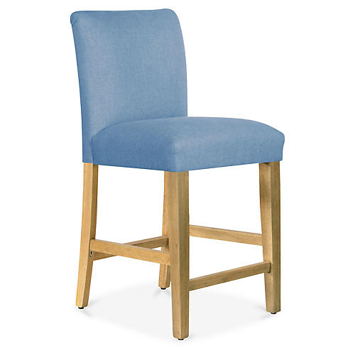 Shannon Counter Stool, French Blue Linen