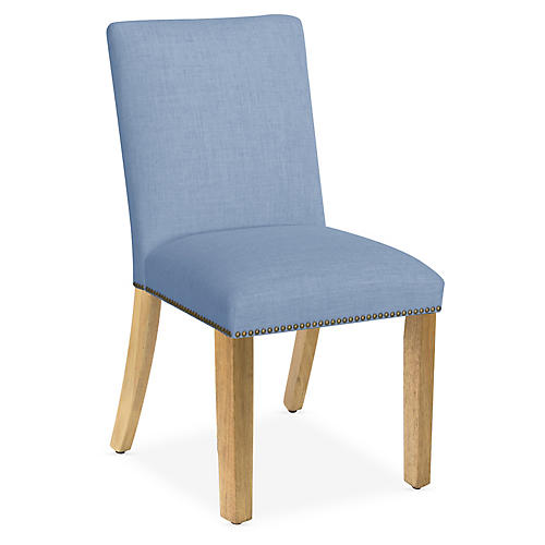 Kean Side Chair, French Blue Linen
