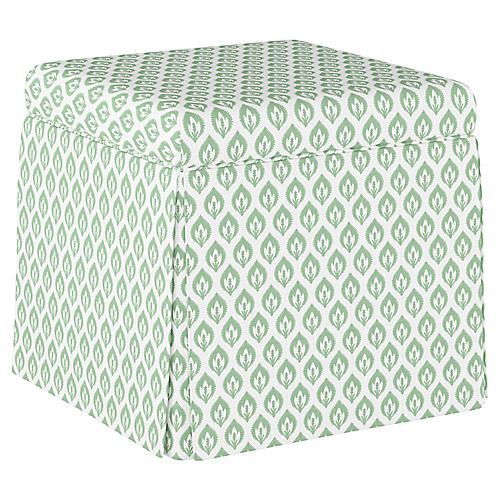 Anne Skirted Storage Ottoman, Sage Floral Linen