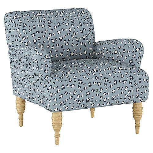 Nicolette Club Chair, Dusty Blue Linen