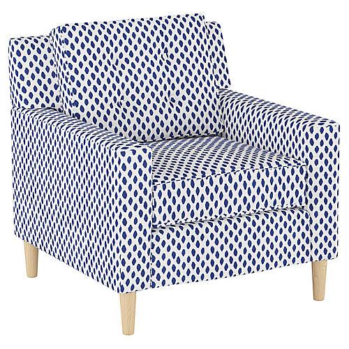 Winston Club Chair, Navy Dot