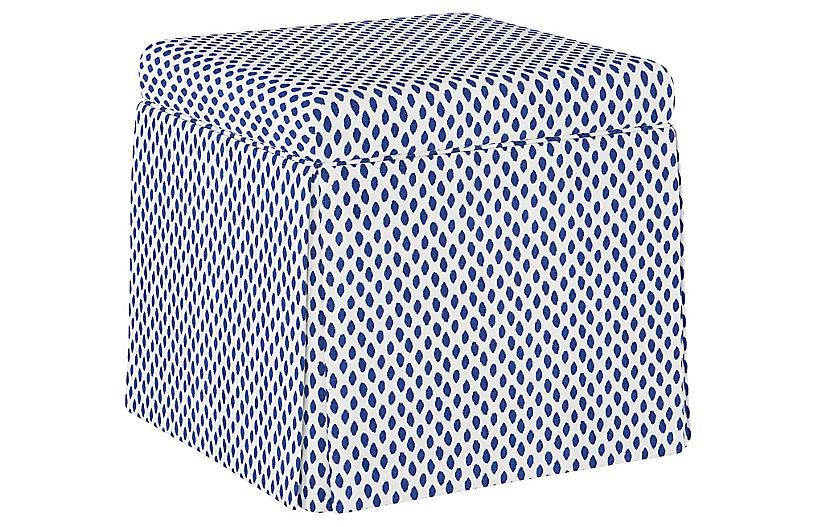 Anne Skirted Storage Ottoman, Navy Dot