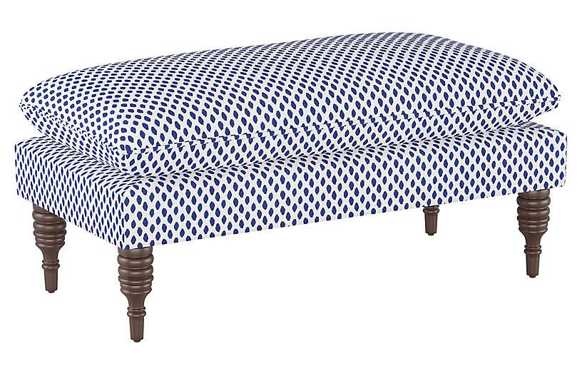 Eva Pillow-Top Bench, Navy Dot