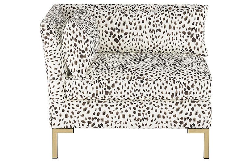 Marceau Corner Chair, Cream/Gray