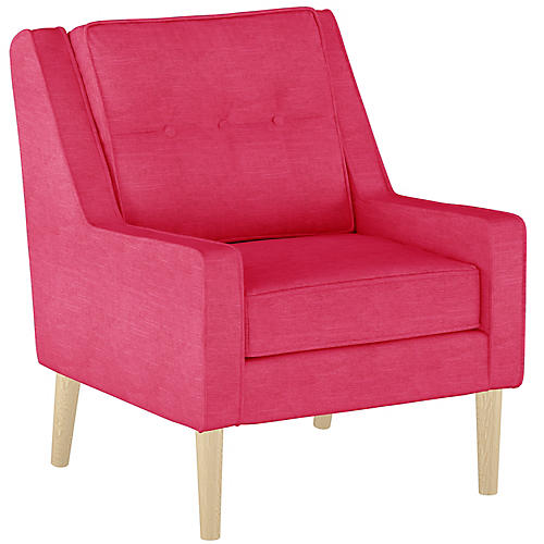 Shara Accent Chair, Fuchsia Linen