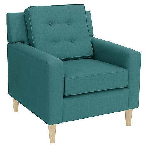 Winston Club Chair, Teal Linen