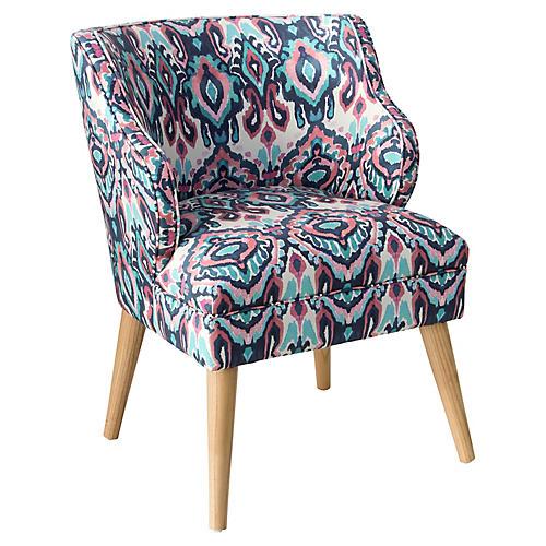 Kira Accent Chair, Cerulean/Pink
