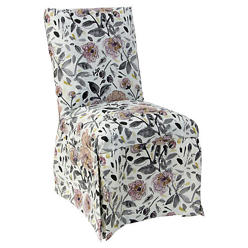 Owen Slipcover Side Chair, Violet/Gray Floral