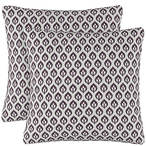S/2 Elliot Floral Pillows, Plum Linen