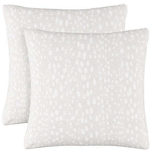 S/2 Snow Leopard Pillows, Ivory Linen