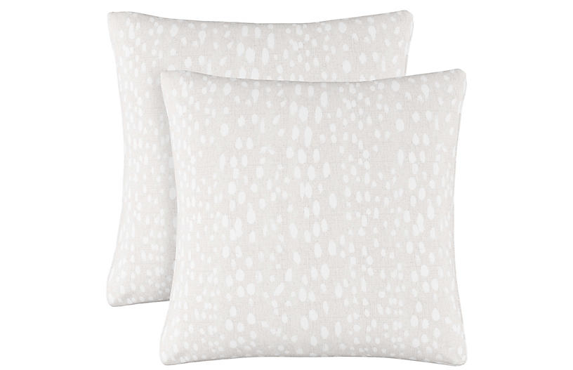 S/2 Snow Leopard Pillows, Ivory Linen