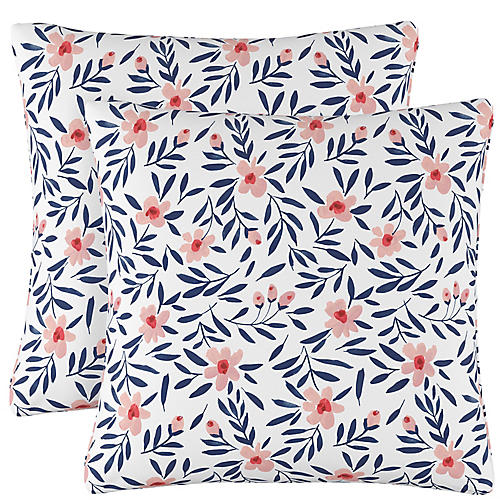 S/2 Lola Floral Pillows, Navy/Blush Linen