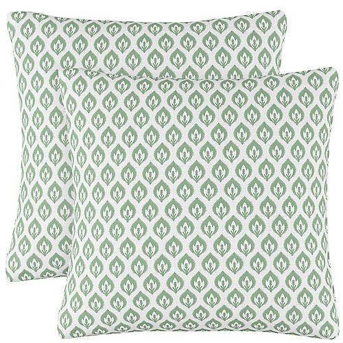 S/2 Elliot Floral Pillows, Sage/White Linen