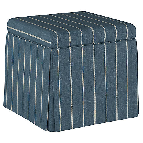 Anne Skirted Storage Ottoman, Fritz Indigo