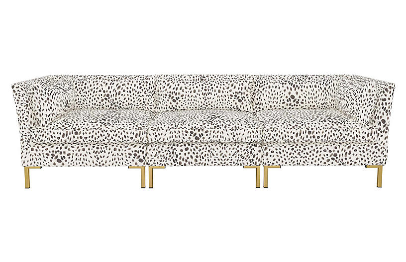 Marceau Modular Sofa, Cream/Gray Cheetah Linen