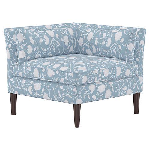 Marlee Corner Chair, Floral Sky Linen