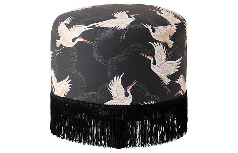 Callie Fringed Ottoman, Black Cranes