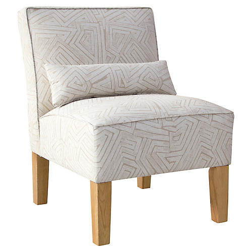 Bergman Accent Chair, Beige/White