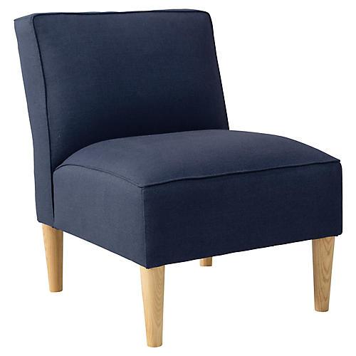 Finnegan Slipper Chair, Dark Denim Linen