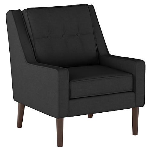 Shara Club Chair, Black Linen