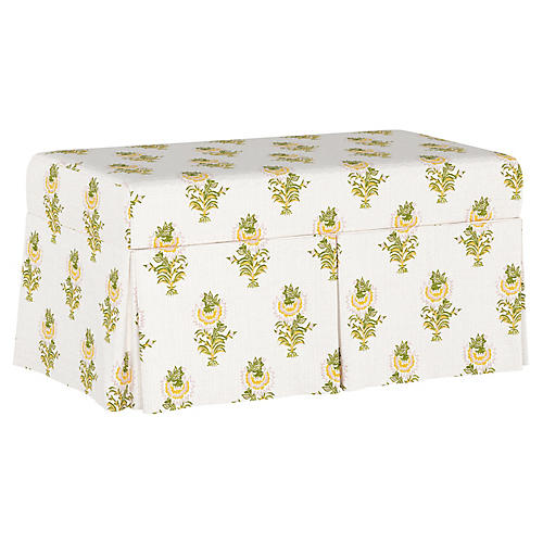 Desert Flower Skirted Storage Bench, Spring Green
