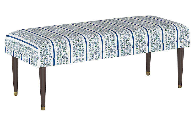 Agave Stripe Bench, Indigo