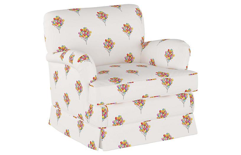Balloon Bouquet Kids' Chair, White/Multi