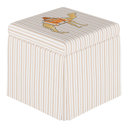 Camel Stripe Storage Ottoman, English Tan
