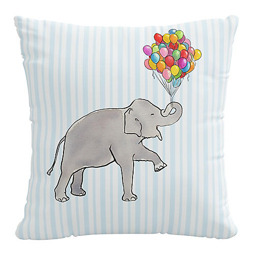 Elephant Stripe 20x20 Pillow, English Blue