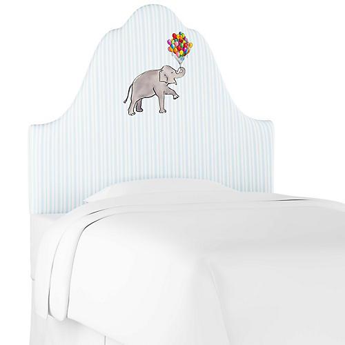 Elephant Stripe Headboard, English Blue