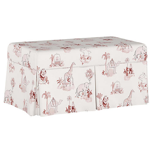 Toile Storage Bench, Pink