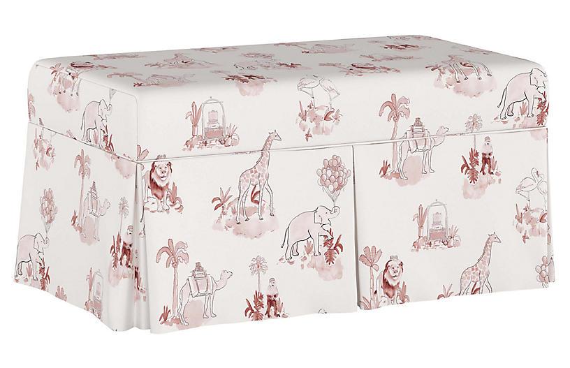 Toile Storage Bench, Pink