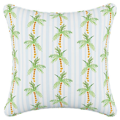 Palm Tree 20x20 Pillow, Blue Stripe