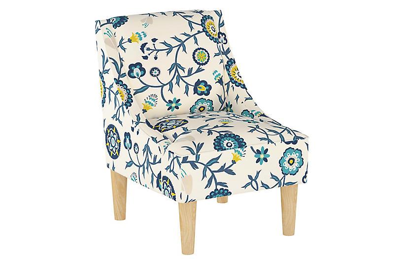 Quinn Swoop-Arm Chair, Peacock Floral