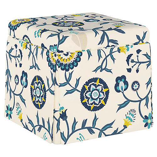 Anne Skirted Storage Ottoman, Peacock Floral