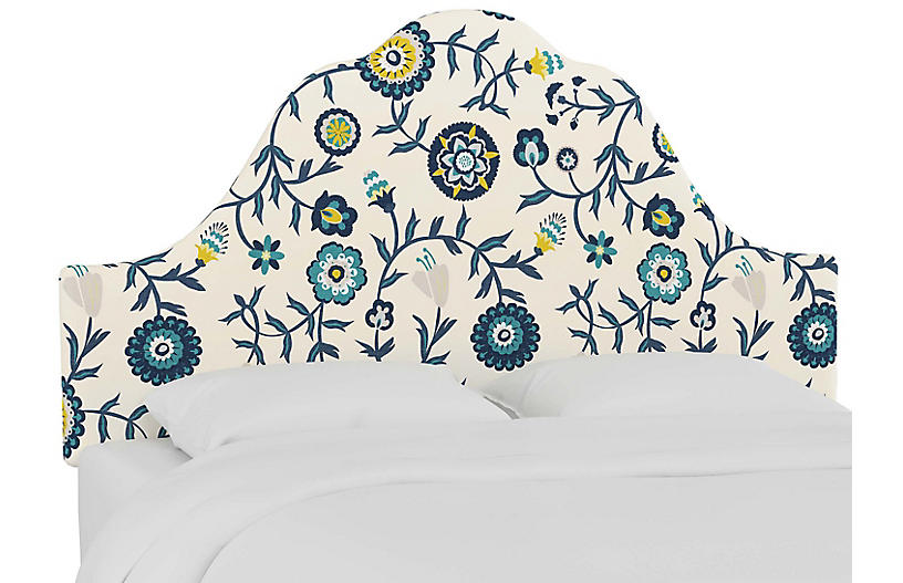 Emma Arched Headboard, Peacock Floral