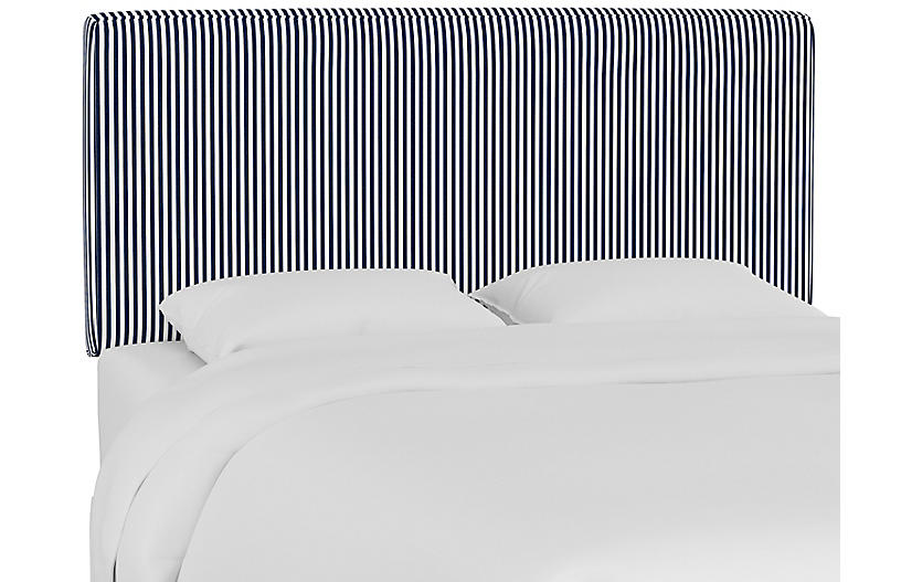 Macy Headboard, Denim Blue Stripe