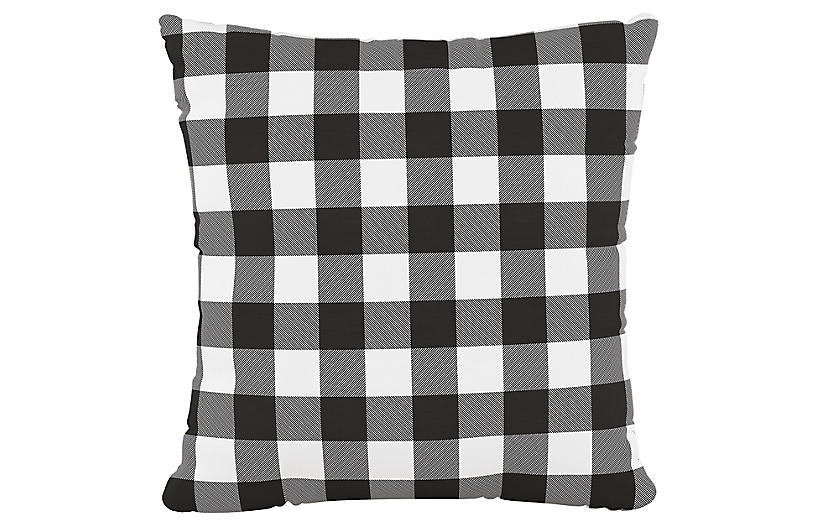 Lizzy 20x20 Pillow, Classic Gingham Black