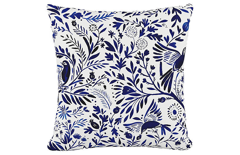 Oiseau Jardin 20x20 Pillow, Blue/White Birds