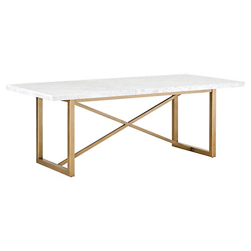 Lexie Dining Table, White/Gold