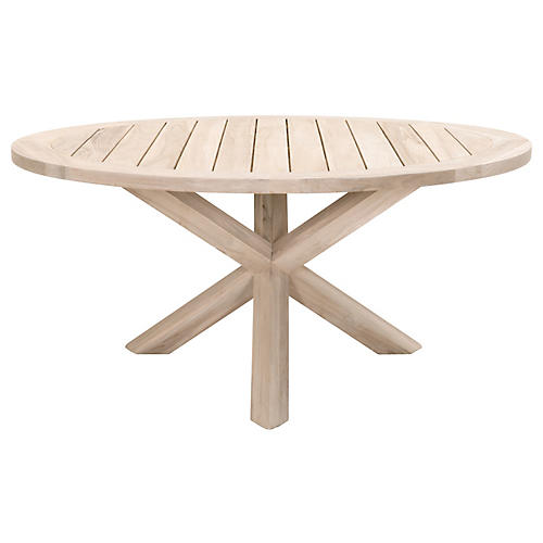 Boca Outdoor Dining Table, Gray Teak
