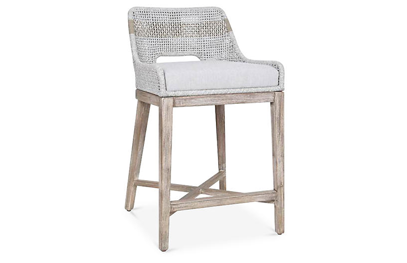 Arras Counter Stool, Taupe/White