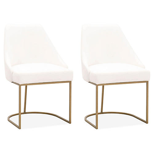 S/2 Lola Side Chairs, Gold/Pearl Velvet