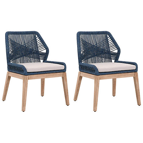 S/2 Easton Side Chairs, Indigo